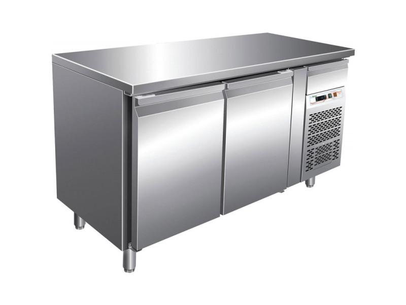 Tour pâtissier réfrigéré central 2 portes - dessus inox - 390 litres - r290 2 portes pleine