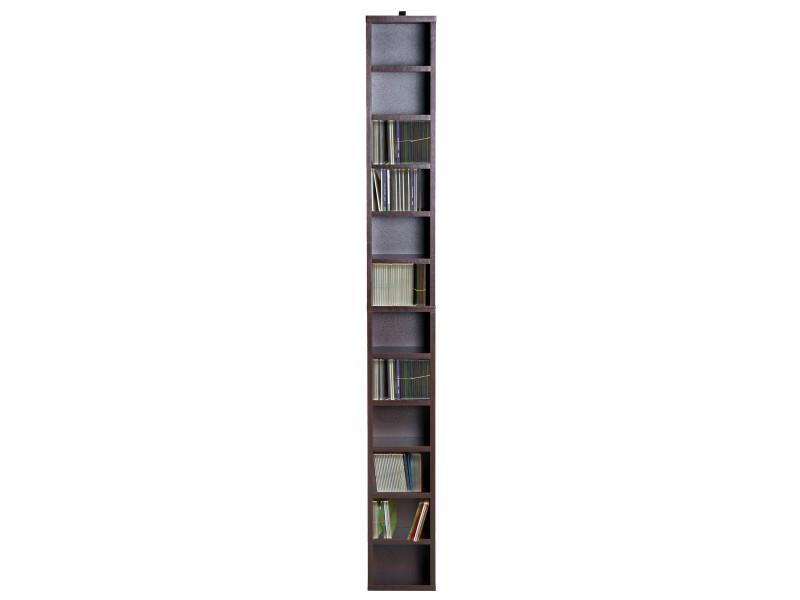 Étagère colonne armoire de rangement cd-dvd 12 compartiments 21l x 20l x 175h cm capacité max ...