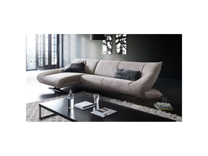 Canapé angle cuir gris design harteros avec chaise longue gauche