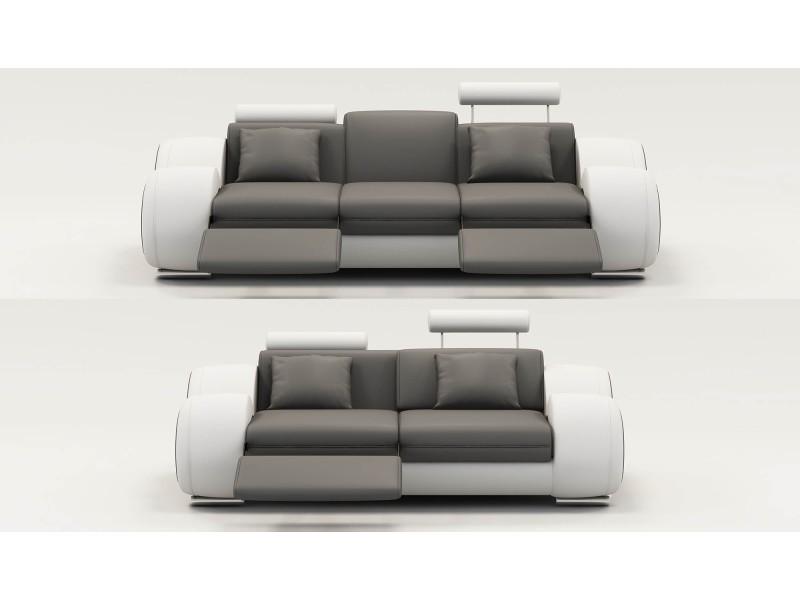 Ensemble cuir relax oslo 3+2 places gris et blanc-
