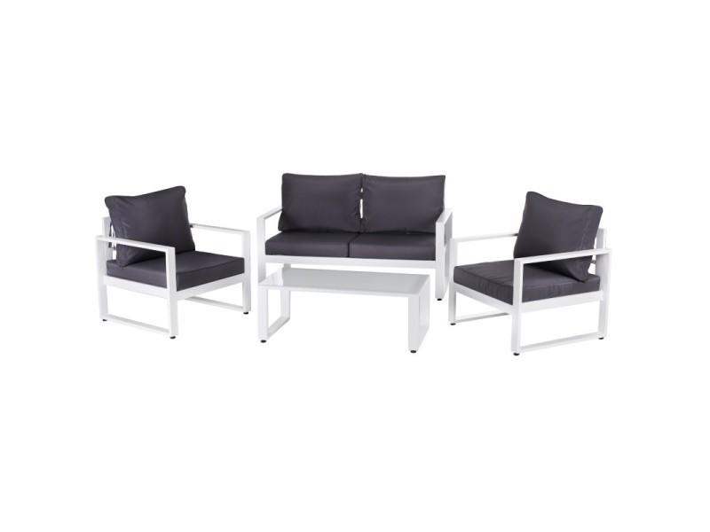 Salon de jardin 5 places en aluminium blanc et coussins gris ...