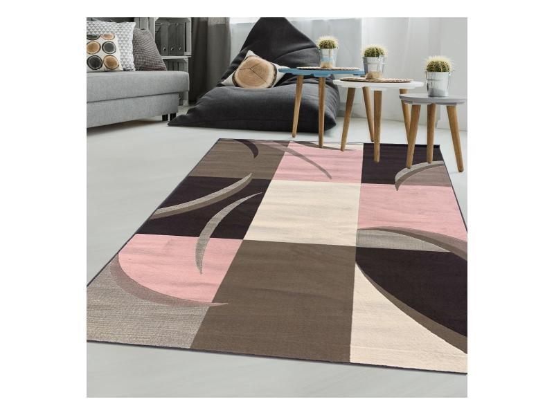 Tapis moderne pour salon af ella marron, crème, rose 120 x 170 cm ...