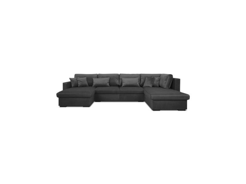 Gustav canapé d'angle panoramique 7 places - tissu velours gris anthracite - contemporain - l 336 x p 173-212 cm