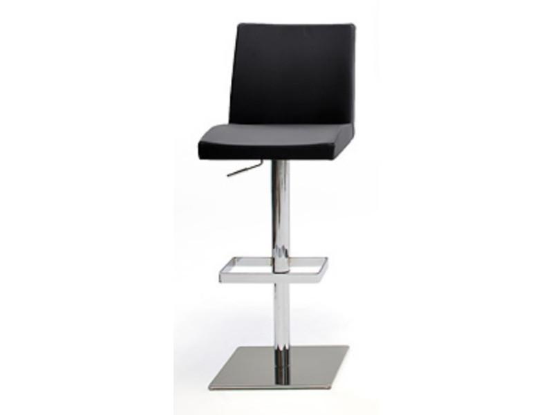 Tabouret de bar socle avec pieds en métal chromé socle acier poli rotation 360 °en pu coloris noir - dim : h 92-113 x 42 x 53 cm -pegane-