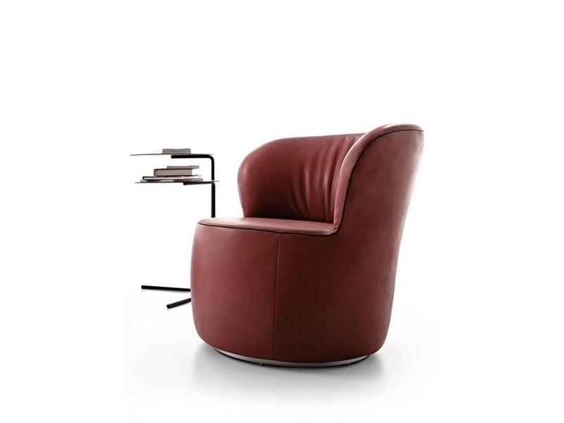 Fauteuil cuir rouge pivotant rond design lido
