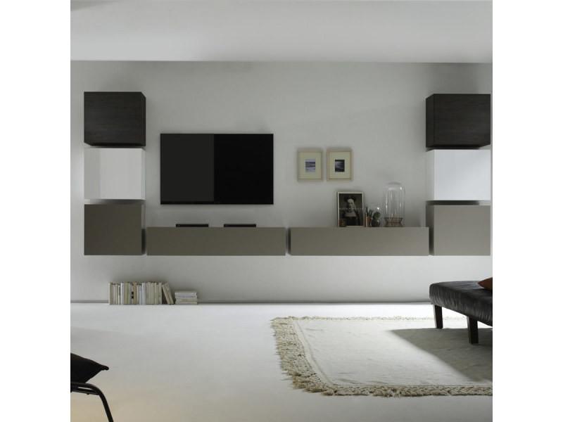 Ensemble meuble tv mural blanc, gris mat et couleur wengé ...