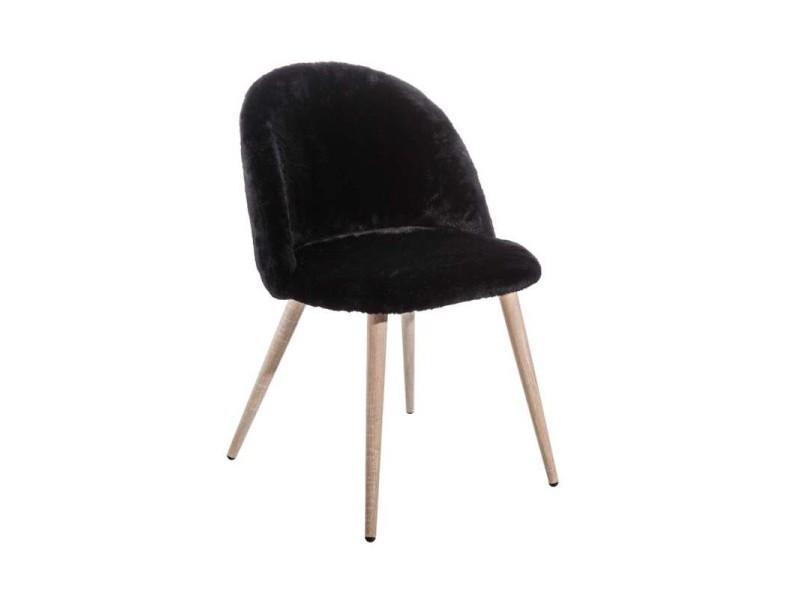 Lot de 2 chaises fausse fourrure noire pieds bois charlie