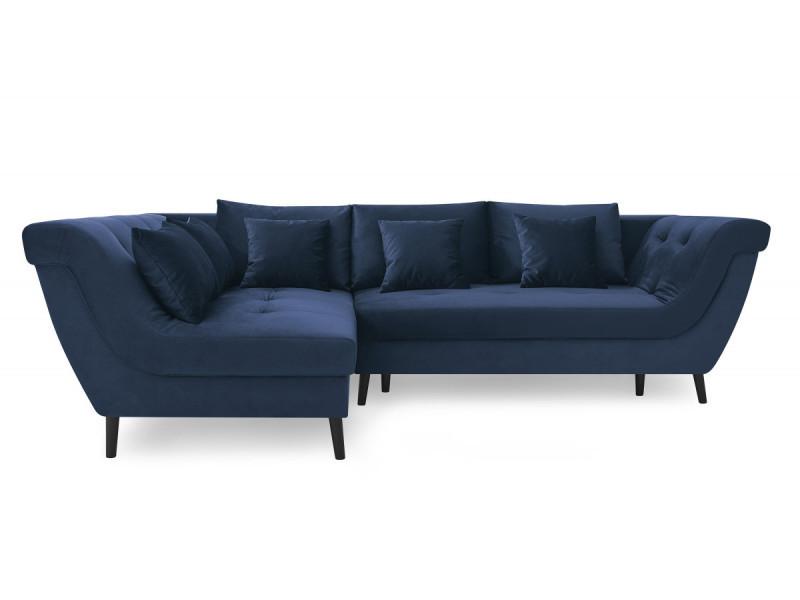 Canapé d'angle convertible real bleu marine angle gauche