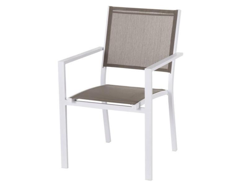 Quatuor de chaises textilène taupe/métal blanc - vado - l 55 ...