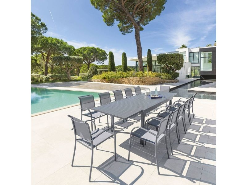 Table de jardin extensible piazza - 12 personnes - l. 200/320 cm ...