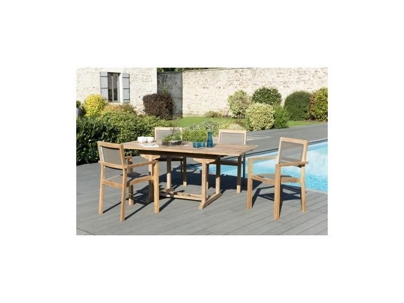Salon de jardin en teck et en textilène avec 1 table rectangle ...