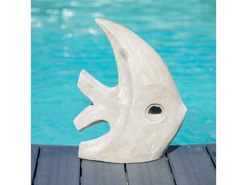 Sculpture Moderne Jardin Poisson Petit Modele Gris 50 Cm