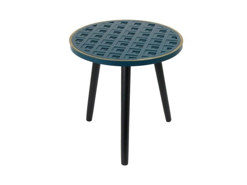 Table d'appoint bois à motif bleu