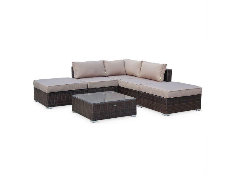 salon de jardin en r sine tress e de 7 places couleur. Black Bedroom Furniture Sets. Home Design Ideas