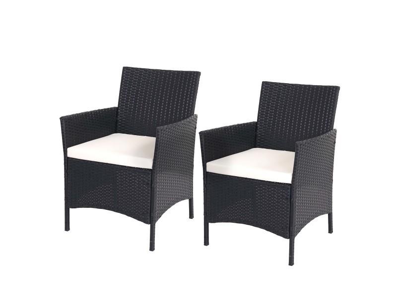 2x fauteuil de jardin halden en polyrotin, fauteuil en osier ~ anthracite  ...