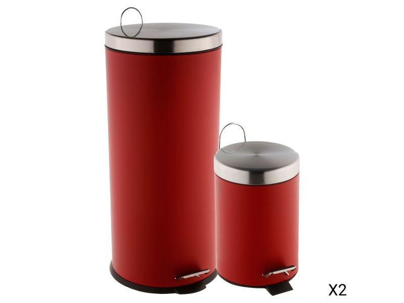 2 poubelles à pédale - 30 l et 3 l - rouge