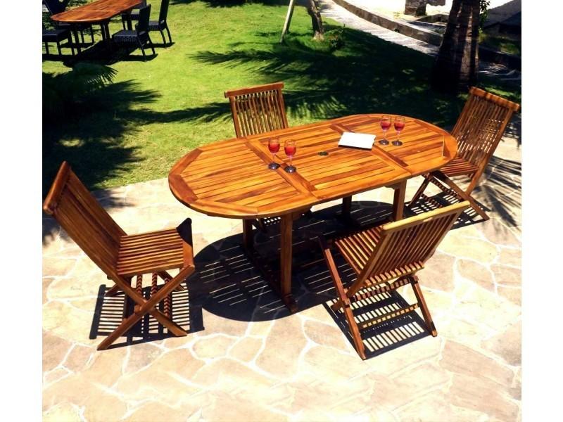 Salon de jardin 4-8 places en teck huilé - 4x chaises peignes ...