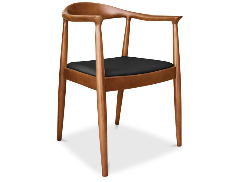 Chaise design scandinave the chair wegner style - cuir premium noir