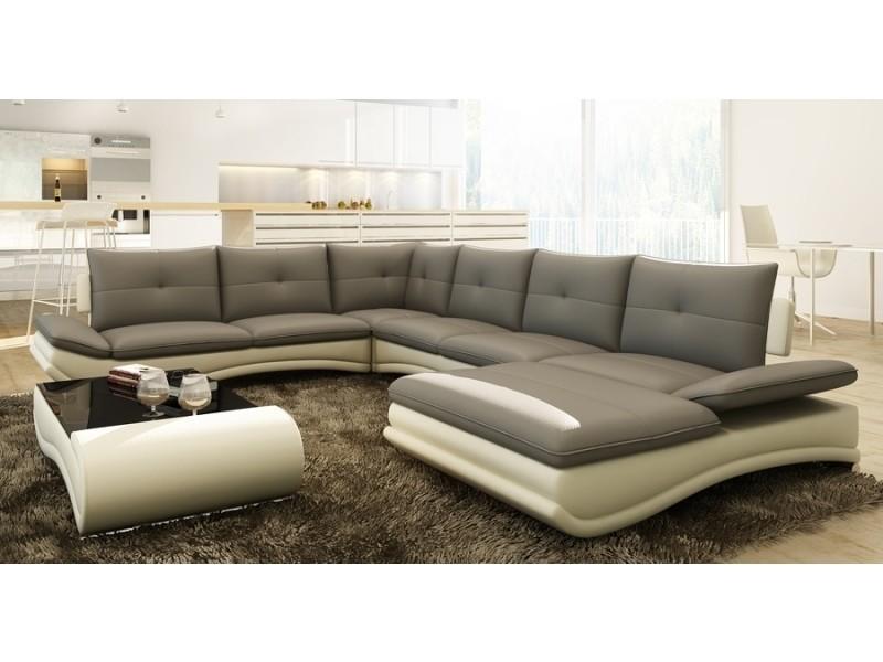 Canapé d'angle design panoramique gris et blanc mexico-