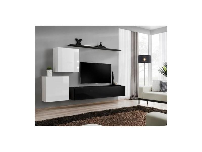 Meuble Tv Mural Switch V Design Coloris Noir Et Blanc