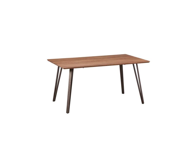 Table de repas bois/métal - bilbao - l 160 x l 90 x h 75 - neuf