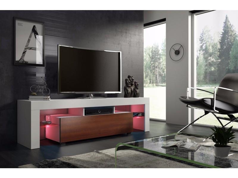 Meuble tv 160 cm blanc mat et noyer mdf avec led rgb