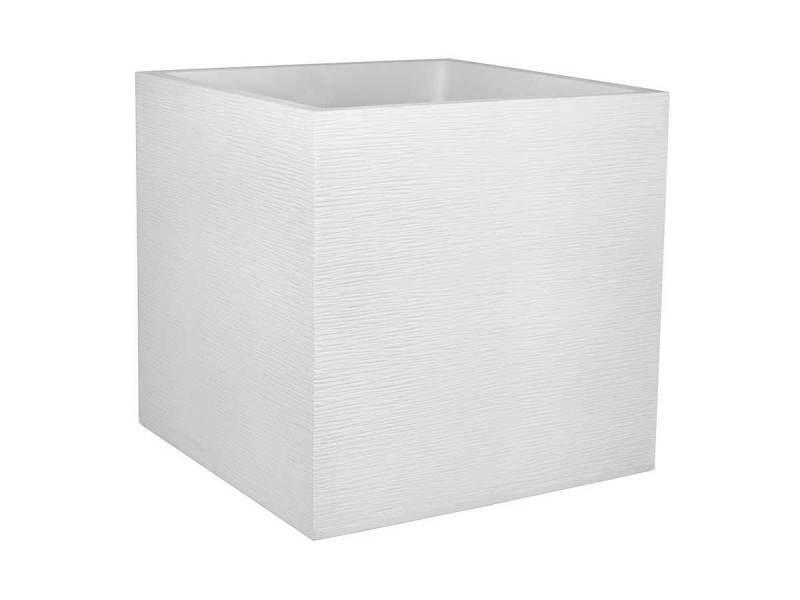 Jardinière carrée graphit 49,5 x 49,5 x 49,5 cm - 57 l - blanc cérusé