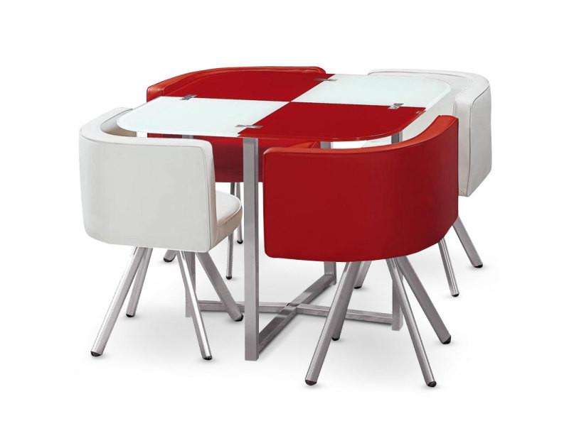 Table Et Chaises Mosaic 90 Blanc Et Rouge Vente De Menzzo