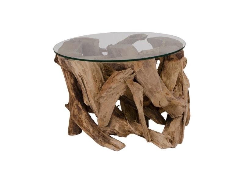 Table basse en verre pieds racine bois ullyssa 2101050