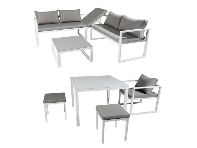 Salon de jardin modulable ibiza en tissu gris 7 places - aluminum ...