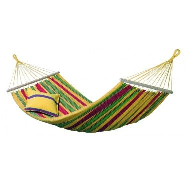Hamac simple à barre de jardin en coton avec sac de transport toile 120x210cm vanilla