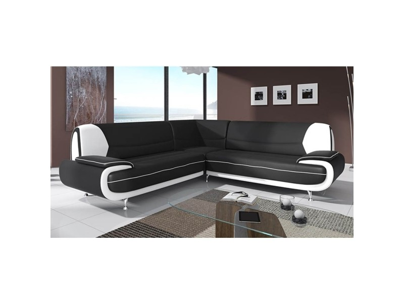 Canapé d'angle design noir et blanc marita xl-