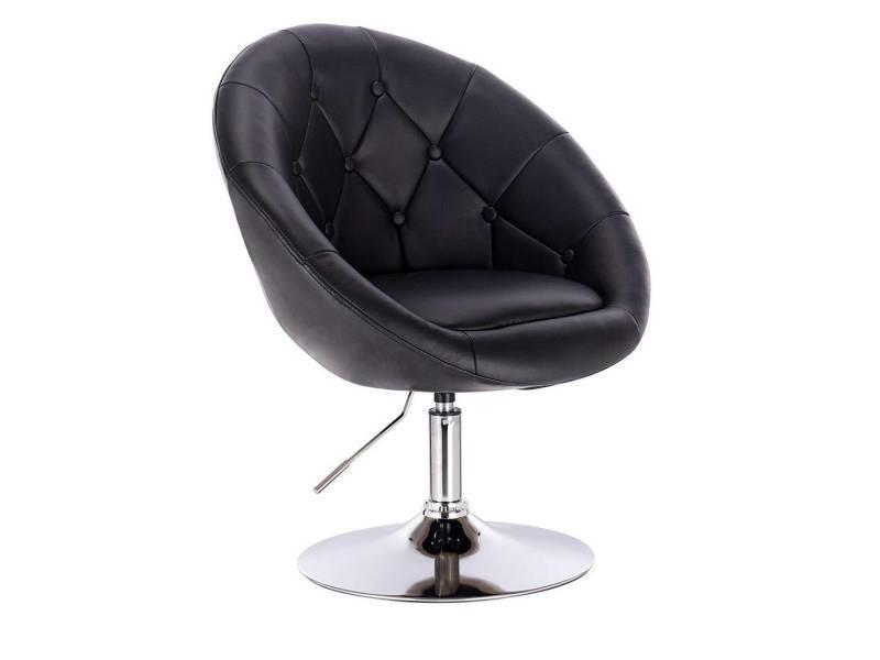 Chaise fauteuil lounge simili cuir noir helloshop26 19_0000327