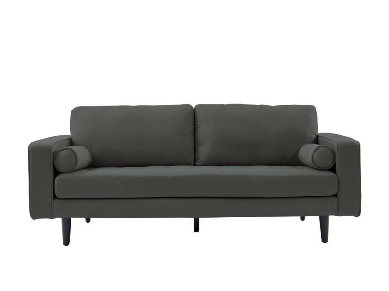 Canapé droit fixe charly, 3 places en tissu gris anthracite et pieds fuselés en bois noir. CNCHARLTP01_153