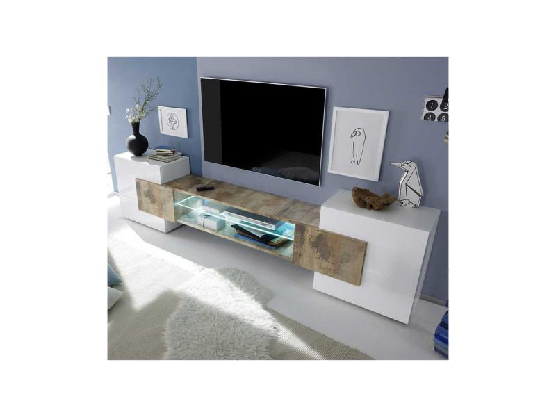 Meuble tv 2 portes laqué blanc brillant/bois fumé à leds - catane - l 258 x l 37 x h 61 - neuf