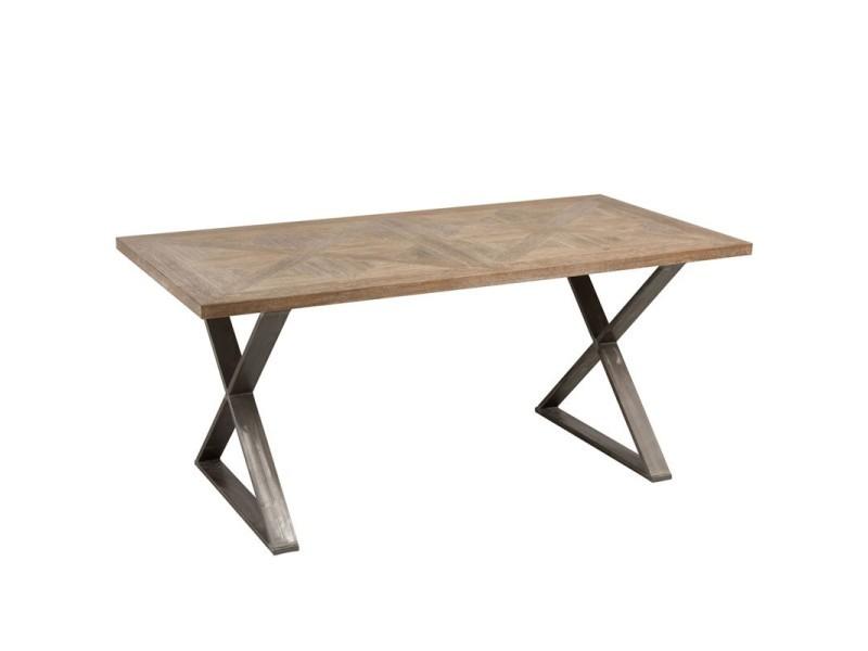 Table de repas bois de teck et pieds métal - pietro - l 180 x l 90 x h 79 - neuf