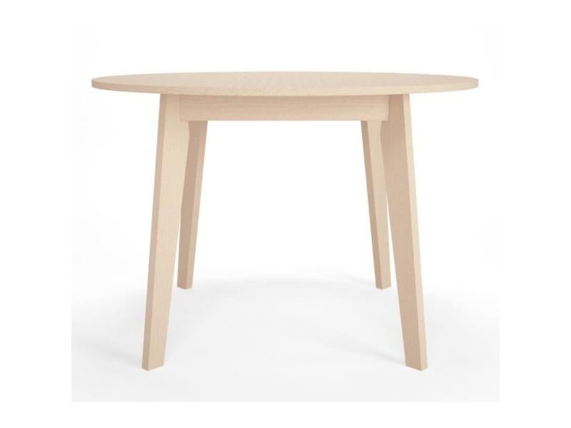 Table a manger seule naiss table a manger ronde 4 a 6 personnes style contemporain placage verni naturel - ø 110 cm