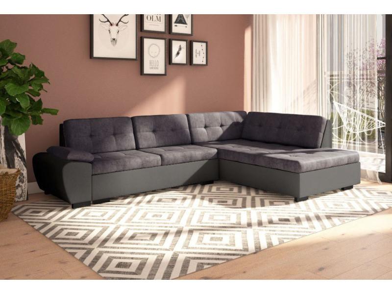 Canapé D Angle Convertible Avec Lit Gali En Tissu Gris Et