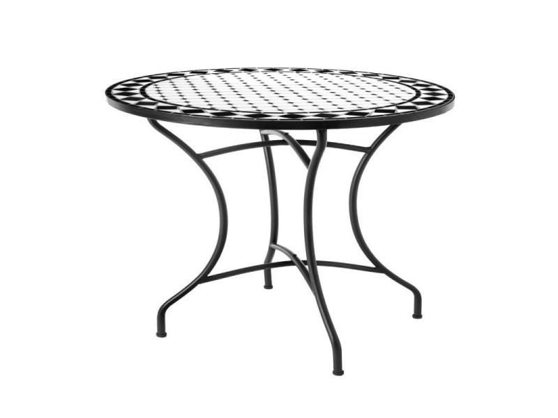 Table de repas ronde fer/céramique noir et blanc - mirihi - l 90 x l 90 ...