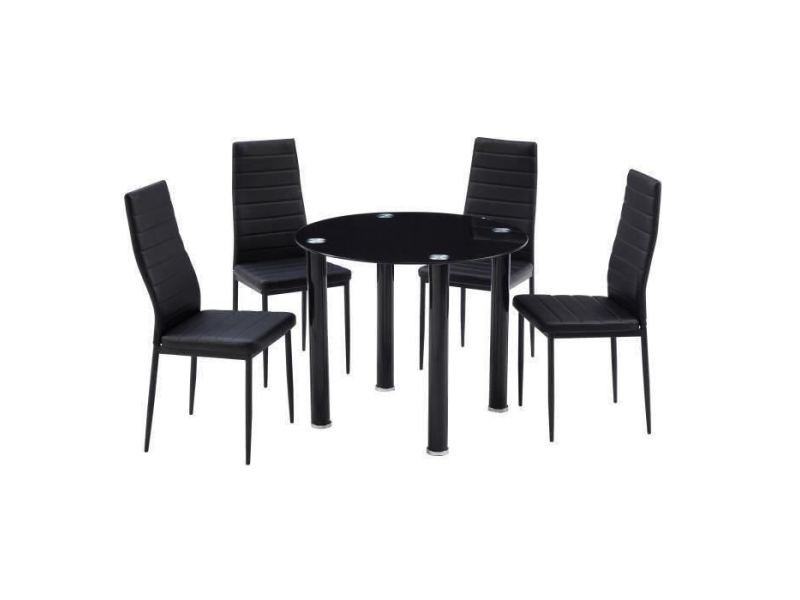Table a manger avec chaises berenice ensemble table a manger ronde en verre 4 personnes 90 cm + 4 chaises en simili - noir