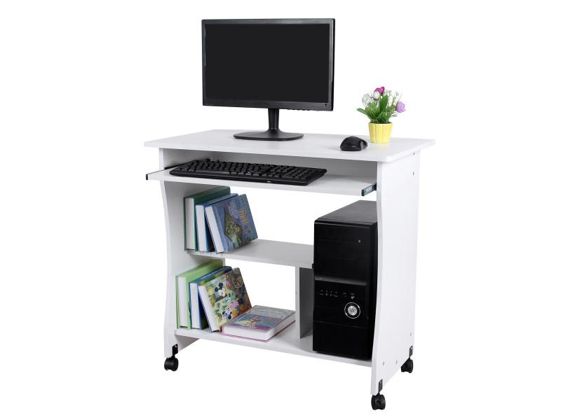 Bureau mobile table informatique table d ordinateur blanc lcd w