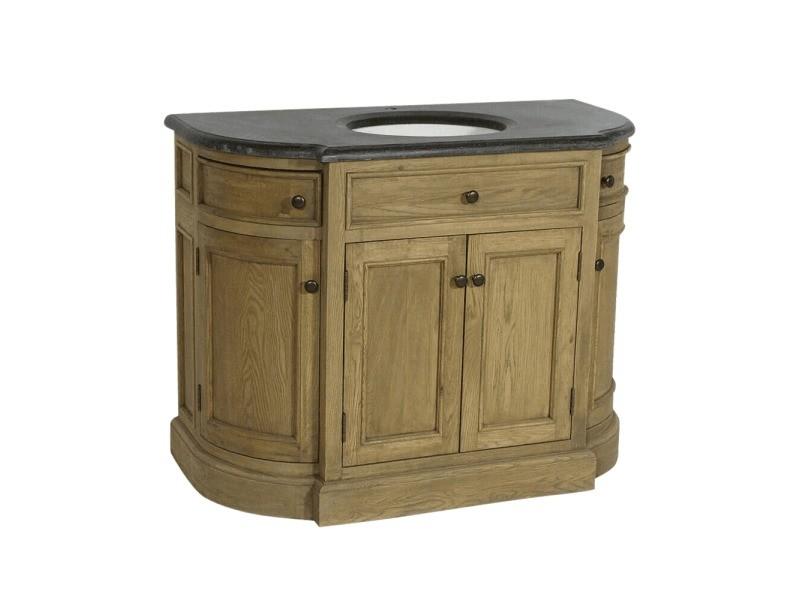 Meuble salle de bain bois massif 1 vasque 4 portes 2 tiroirs | j43 ...