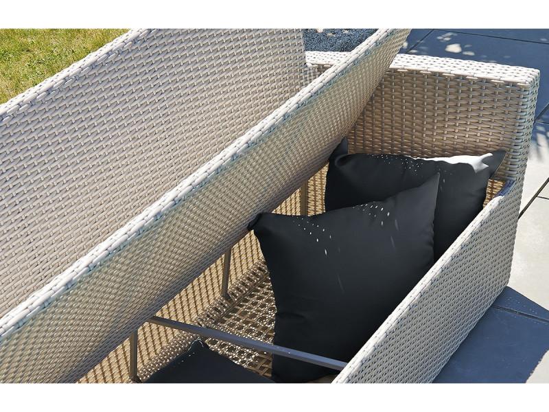 Salon confort 5 places en résine tressée grise PVC-CONFORT ...