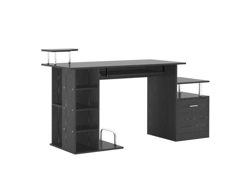 Bureau pour ordinateur table meuble pc informatique en mdf noir