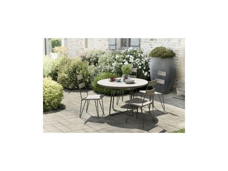 Salon de jardin en teck avec 1 table ronde et 4 chaises scandi (lot ...