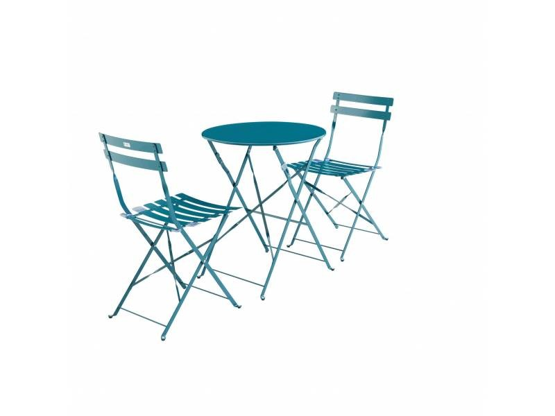 Salon de jardin bistrot pliable emilia rond bleu canard, table ...