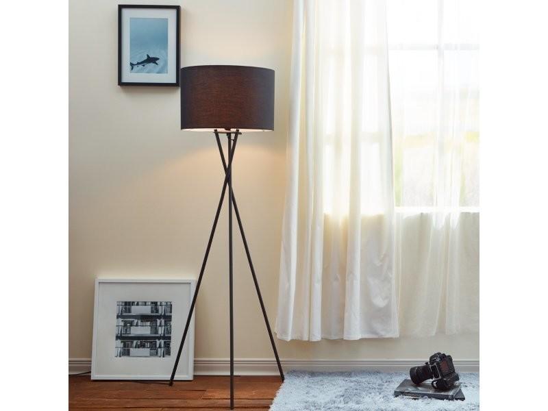 f67863bc Lampadaire cara trépied lampe de sol lampe sur pied abat-jour noir vn -l00003-eu