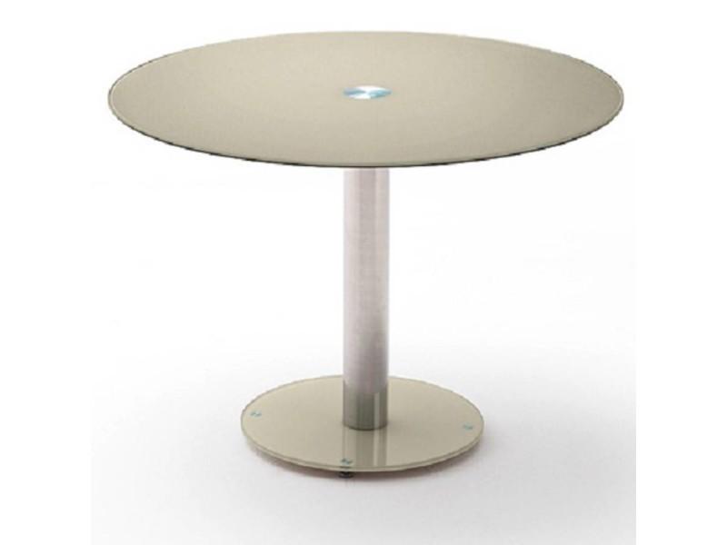 Table repas ronde design faten en verre taupe 20100872005