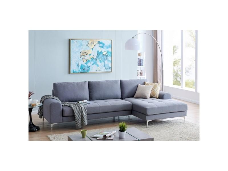 Canapé d'angle avec méridienne en tissu gris naomi - angle droit