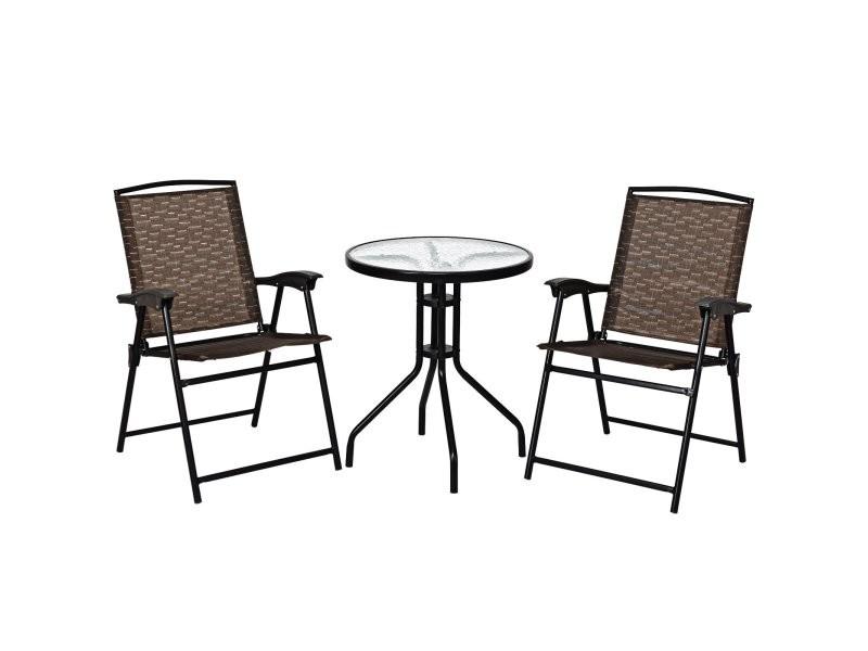 Ensemble bistro 3 pièces avec table et 2 chaises pliantes salon de jardin extérieur 2 personnes 20_0000555